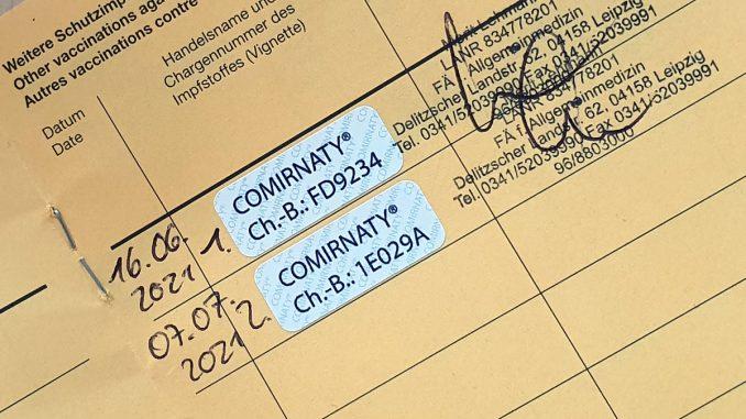 Impfbescheinigung durchgeimpft zweite Impfung mit COMIRNATY BionTech